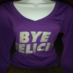 Image of BYE FELICIA Longsleeve Purple with silver shimmer glitter Tee