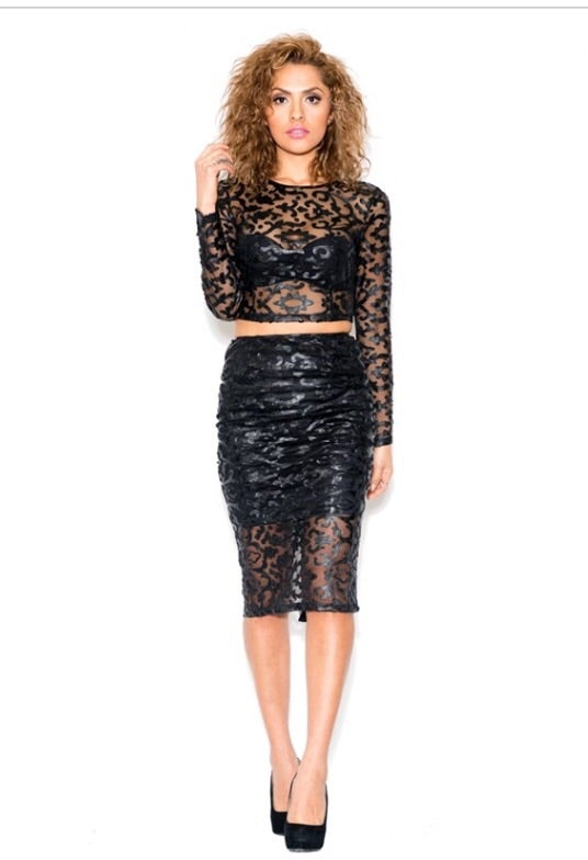 Image of EMBROIDERY MESH MIDI SKIRT AND CROP TOP