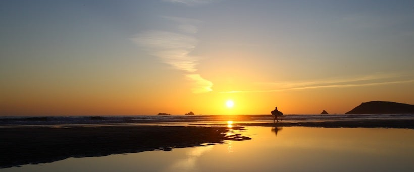 Image of A surfers golden reflection