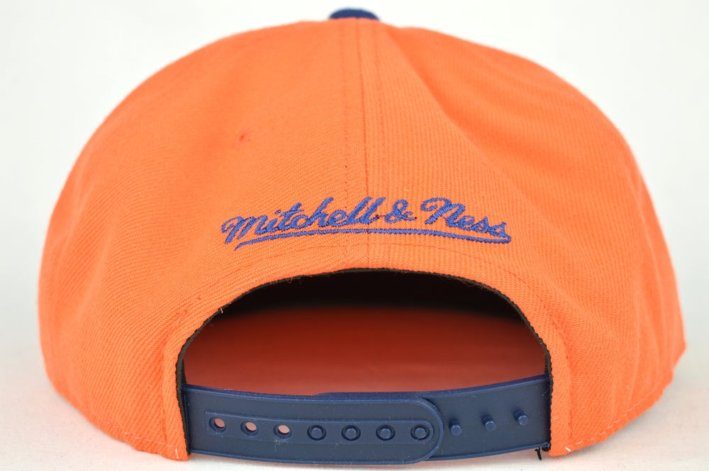 Image of EDMONTON OILERS BLUE & ORANGE SHARKTOOTH MITCHELL & NESS SNAPBACK