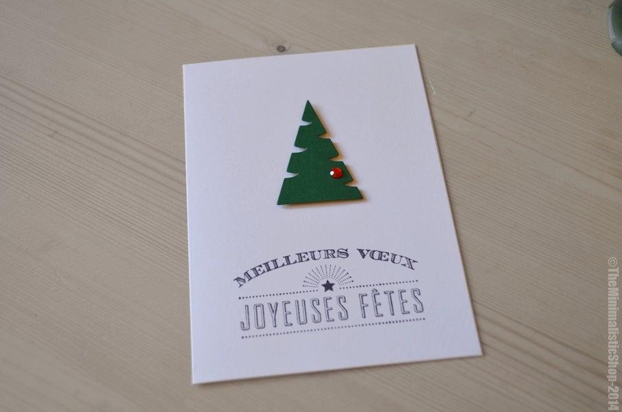 """Image of Carte de voeux de Noël """"Bonne Année"""" au sapin et strass"""