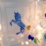 Image of Blue Zebra Art Print