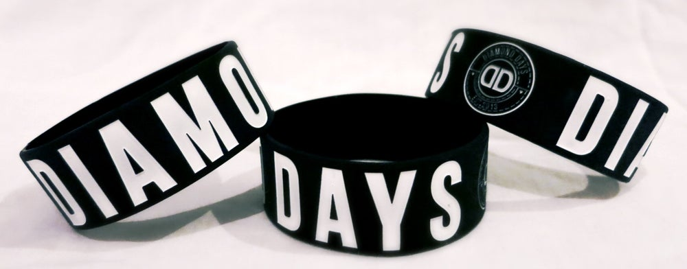 "Image of Diamond Days 1"" debossed black wristband"