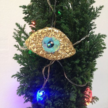 Image of Gold Glitter Third Eye Tree Ornament