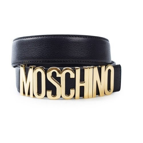 Image of MOSCHINO AUTHENTIC VINTAGE REDWALL LEATHER LOGO BELT