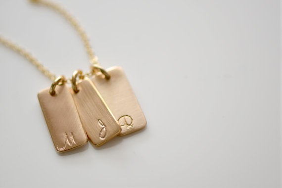 Image of 1,2,3,4,5 or 6 Gold Initial Necklace, Gold Initial Bar Tag Necklace