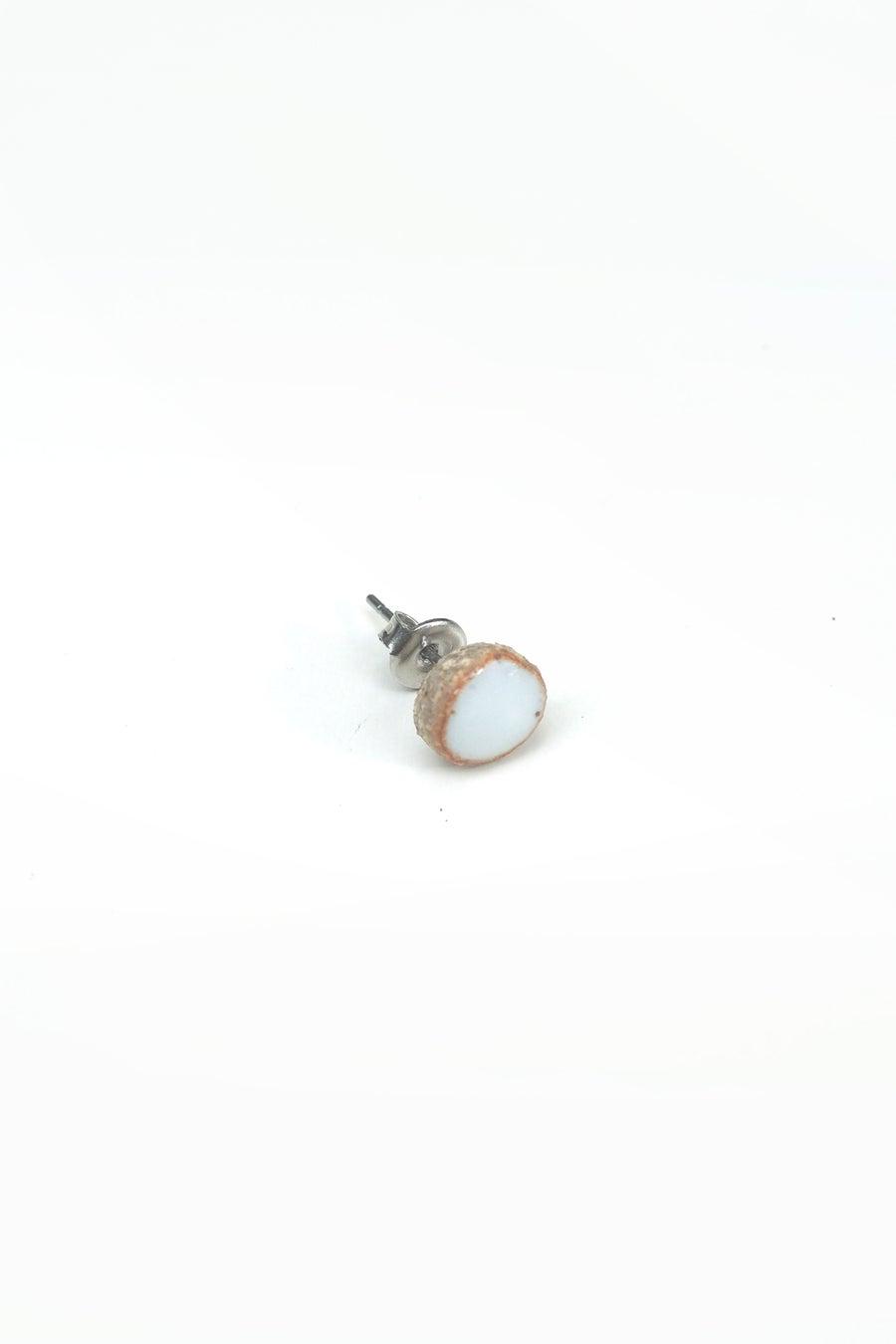 Image of white circle earring