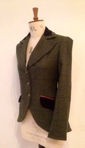 Image of Leather, tweed and velvet Agnes Jacket