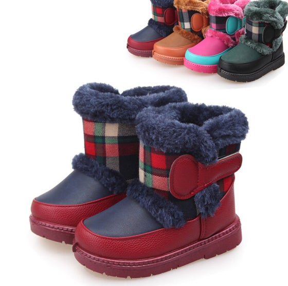 Image of Childrens Plaid Winter Fur Boots