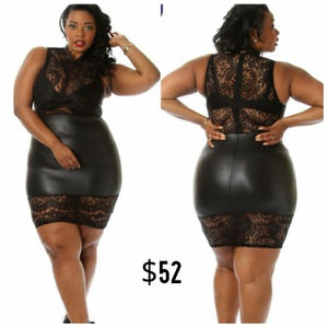 Image of Lace/Faux Leather Dress