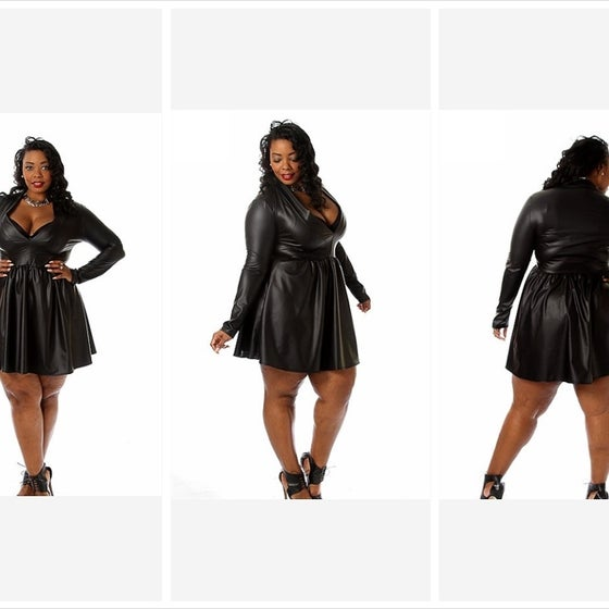 Image of Faux Leather Skater Dress