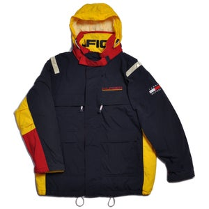 Image of 90s TOMMY HILFIGER SAILING JACKET W FOLD AWAY HOOD