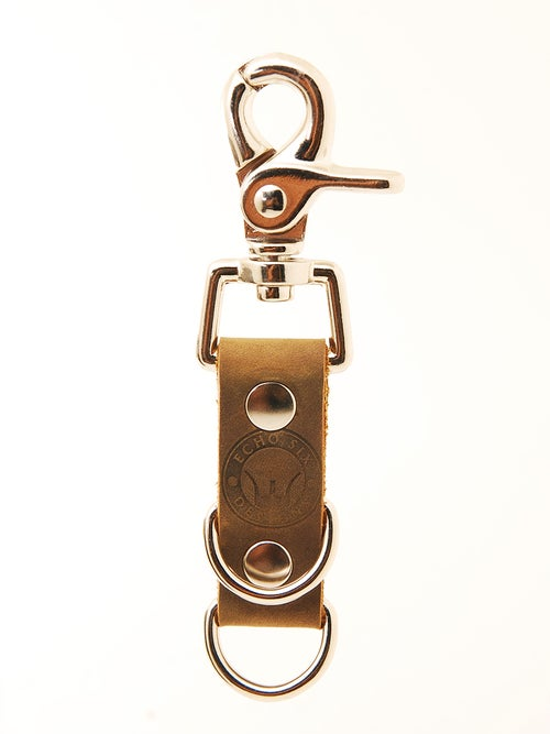 Image of Chrome Double D Stoned Oil Leather Mini Belt Clip Keychain