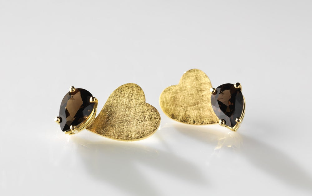 Image of Je te donne mon cœur earrings in gold and smoky quartz