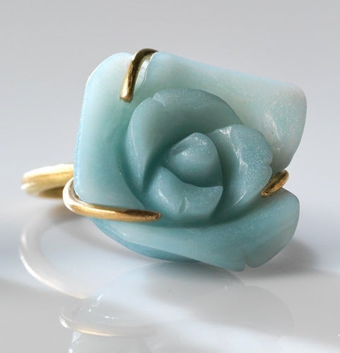 Image of Fleurs de mon cœur ring in gold and amazonite