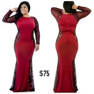 Image of Red Damask Hourglass Maxi