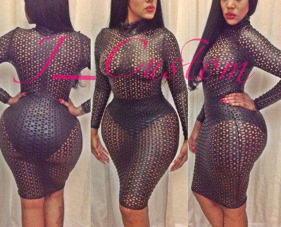 Image of Laser Cut Mock Neck Dress