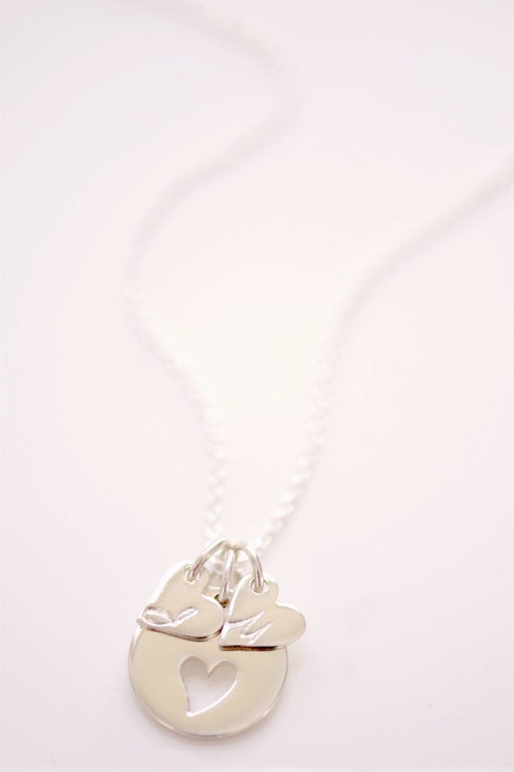Image of Dainty Initial Charm, Sterling Silver Heart Charm, Personalized Necklace