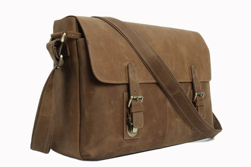 Image of Vintage Leather Messenger Bag, Crossbody Bag, Shoulder Bag, Laptop Bag 6002LR