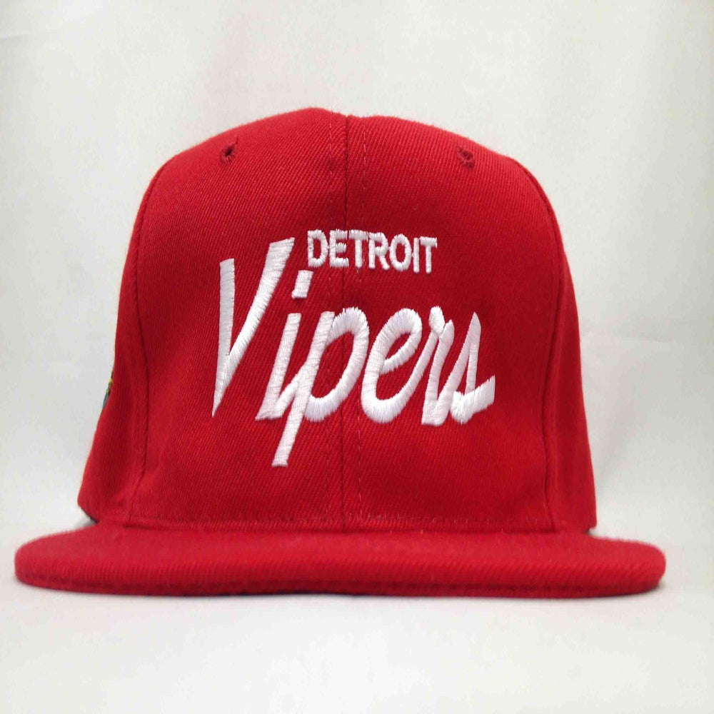 Image of Detroit Vipers Red and White Single Line Wool Snapback