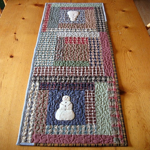"Image of table runner - 43"" x 14"" - snowmen, log cabin, reversible"