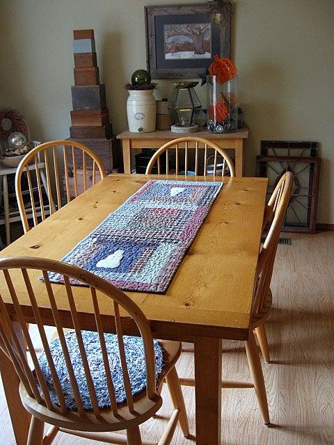 """Image of table runner - 43"""" x 14"""" - snowmen, log cabin, reversible"""