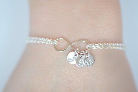 Image of Dainty Personalized Infinity Bracelet , Heavy Chain Bracelet