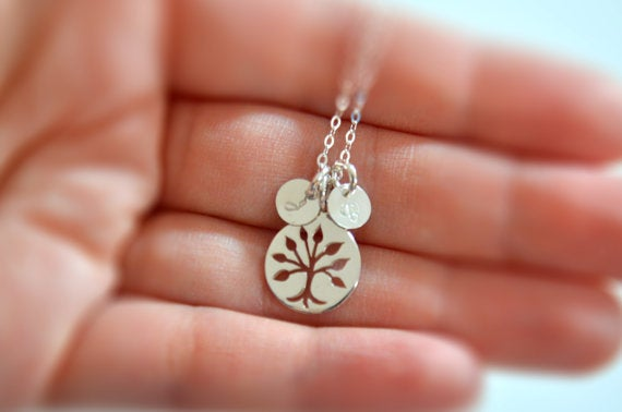 Image of Sterling Silver Family Tree Charm Necklace, Tree of Life Necklace, Mother's Necklace