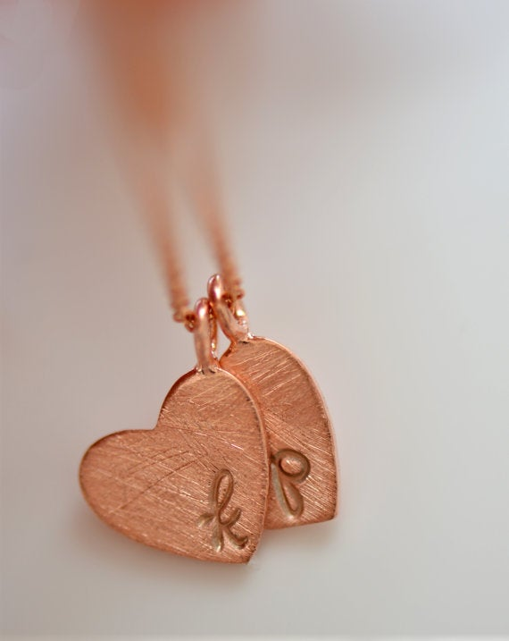 Image of Rose Gold Heart Monogram Necklace , Personalized Initial Heart Necklace , Hand Stamped Necklace