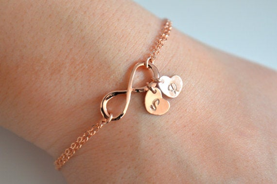 Image of Dainty Rose Gold Infinity Bracelet with Heart Initial Charms
