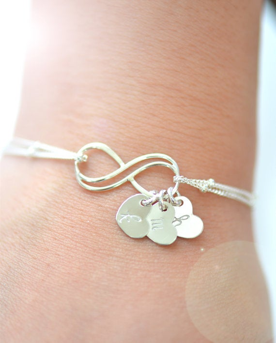Image of Personalized Double Infinity Sterling Silver Bracelet , Satellite Chain
