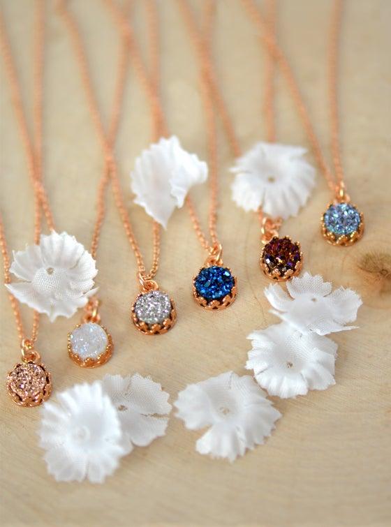Image of Dainty Rose Gold Druzy Necklace - 6mm Druzy Crown Bezel Necklace