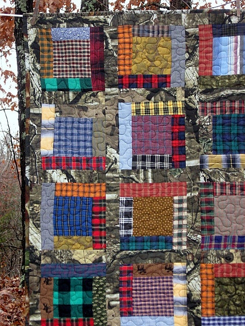 "Image of the BIG one - quilt - 56"" x 47"" - lap quilt - framed square pieced design"