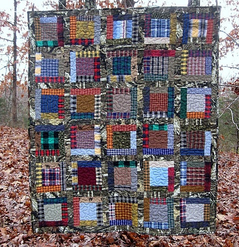 """Image of the BIG one - quilt - 56"""" x 47"""" - lap quilt - framed square pieced design"""