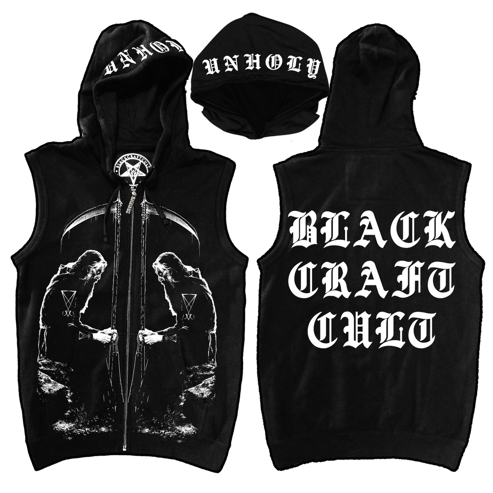 Image of Black Metal Moses - Sleeveless Zip Up Hoodie