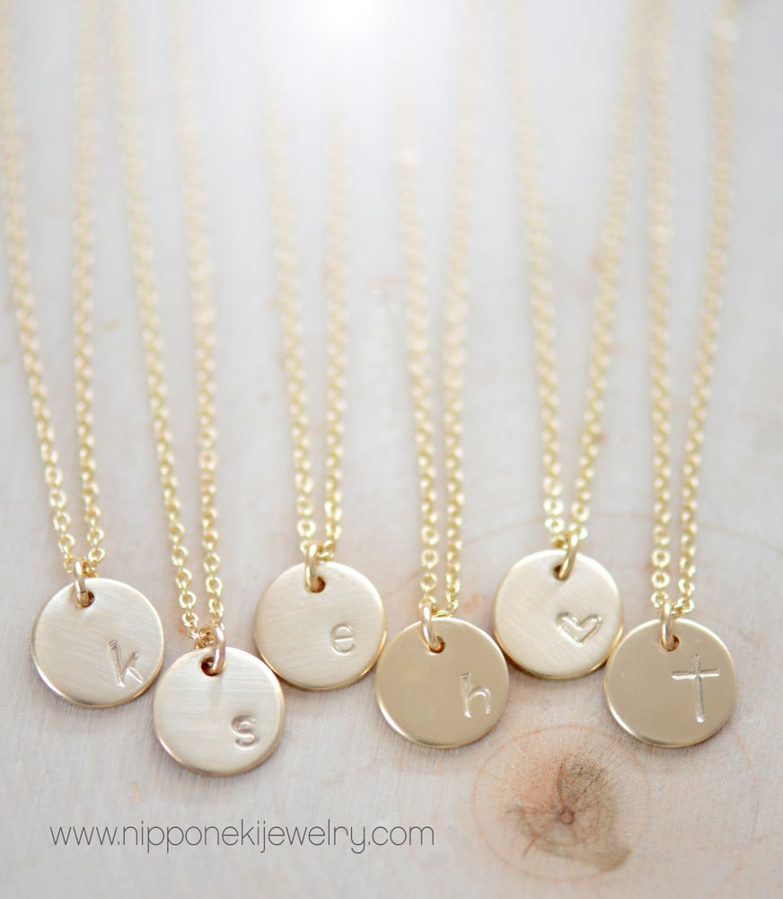 Image of Minimal Gold - Silver Necklace - Personalized Tiny Disks - Gold or Silver Circle Tags Disc