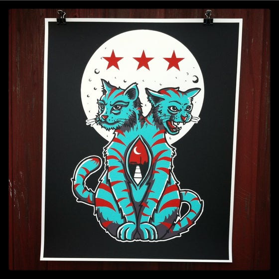 "Image of ""Cats Down Under the DC Stars"" Art print..."
