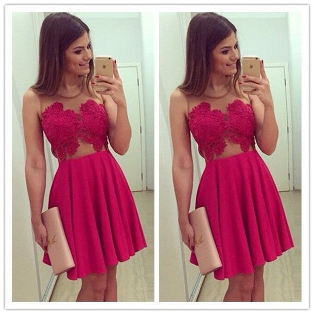 Image of SEXY RED LACE DRESS