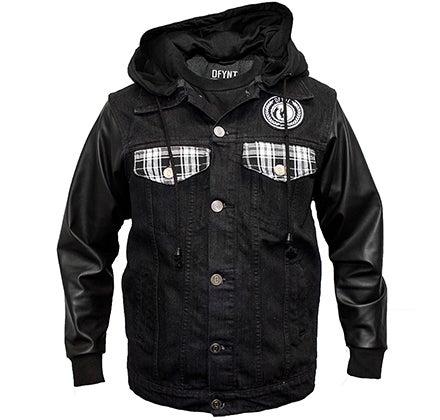 Image of DFYNT Leather Sleeves Black Denim Jacket