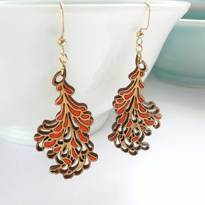 Image of Medium Red Blossom Earrings
