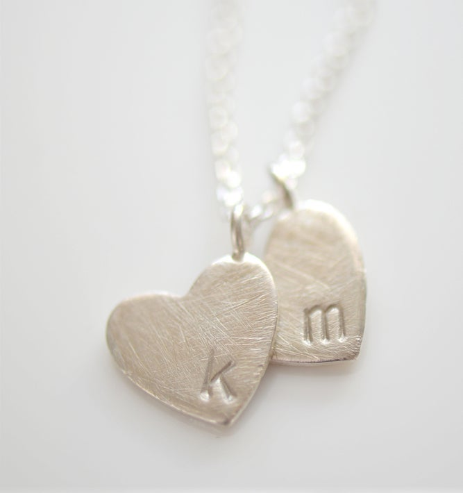 Image of Sterling Silver Brushed Heart Initial Necklace