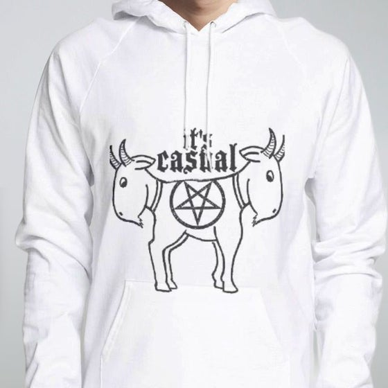 Image of cute Goat Men's pullover hoodies white