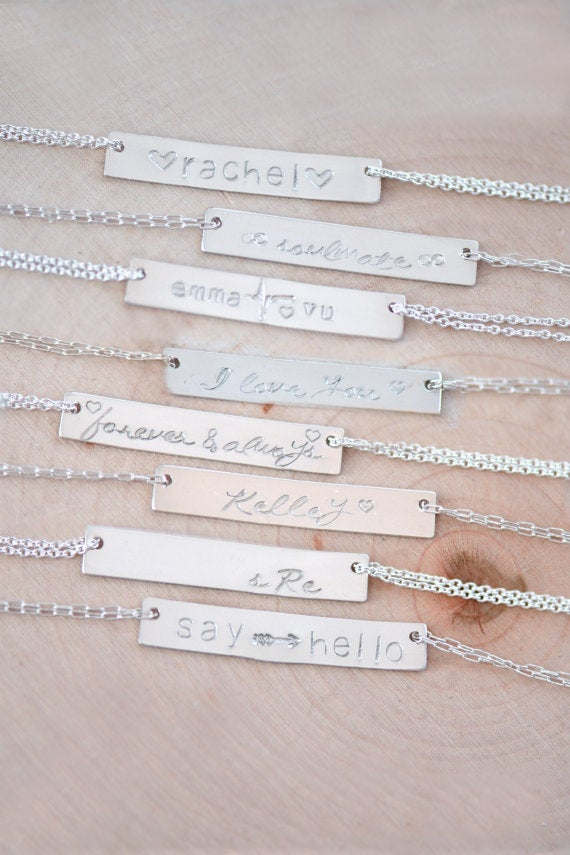 Image of Personalized Bar Necklace , NamePlate Necklace , Bar Necklace , Nameplate Bar Necklace