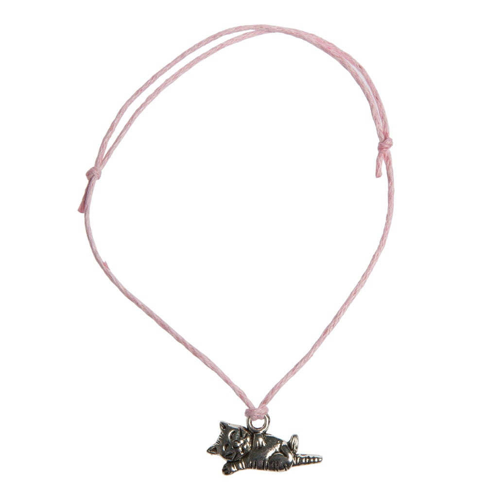 Image of Cat Charm Adjustable Cord Bracelet
