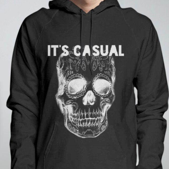 Image of black day of the dead men's pull over hoodie,