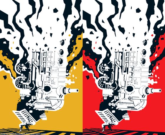 Image of Final Fantasy 6 Train Poster (Black/Yellow)