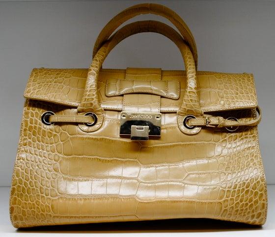Image of Jimmy Choo Rosalie Croc-Stamped Leather Satchel
