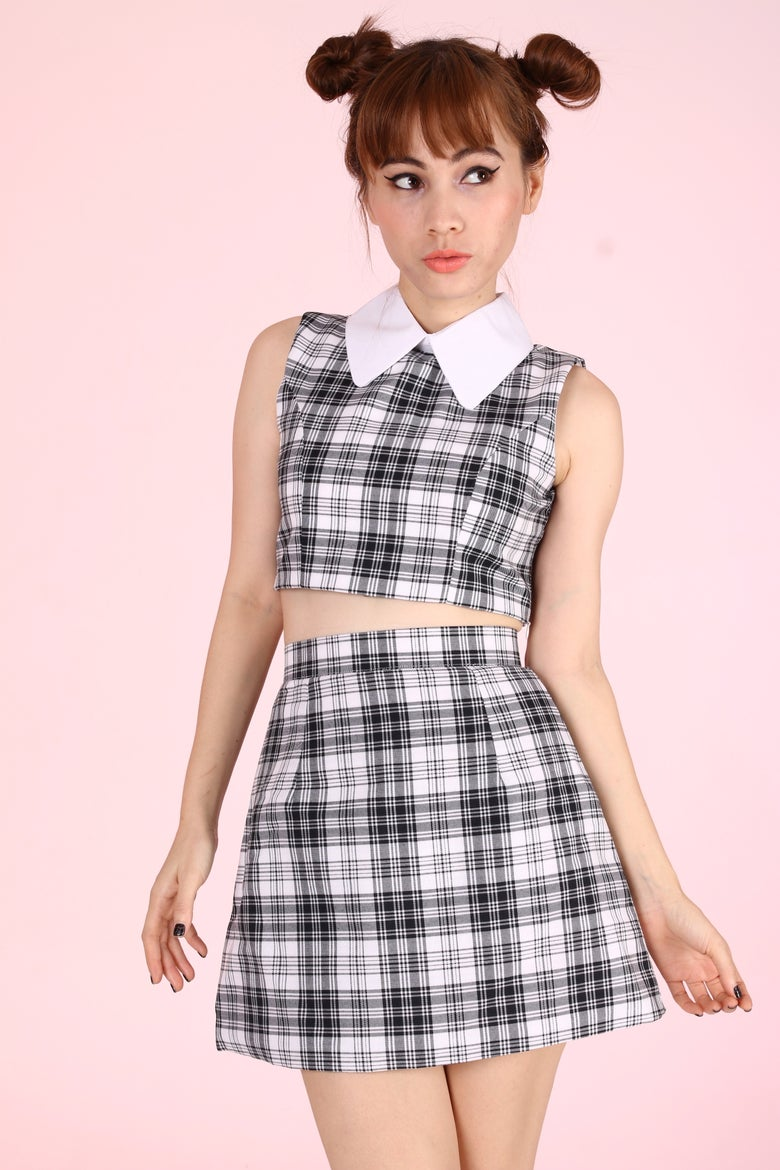 Image of  PRE ORDER - As If A-Line Set in Black & White Tartan