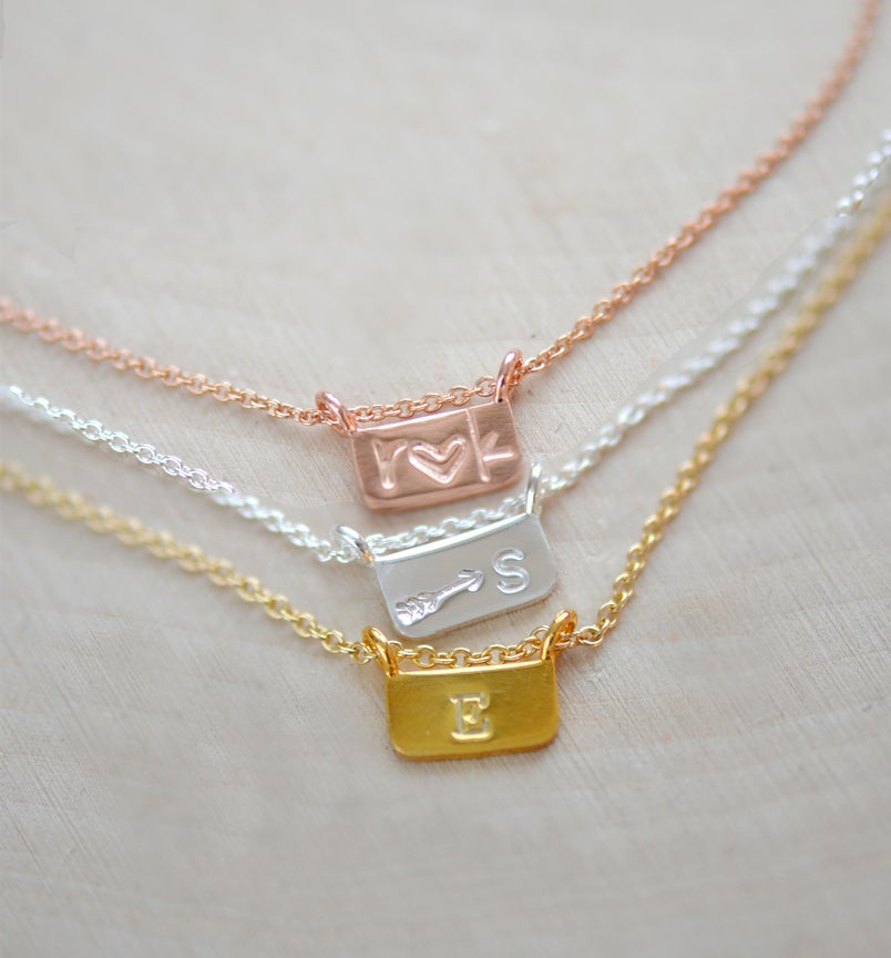 Image of Tiny Tiny Bar Necklace , Initial Necklace , Tiny Bar Necklace ,  Personalized Bar Necklace