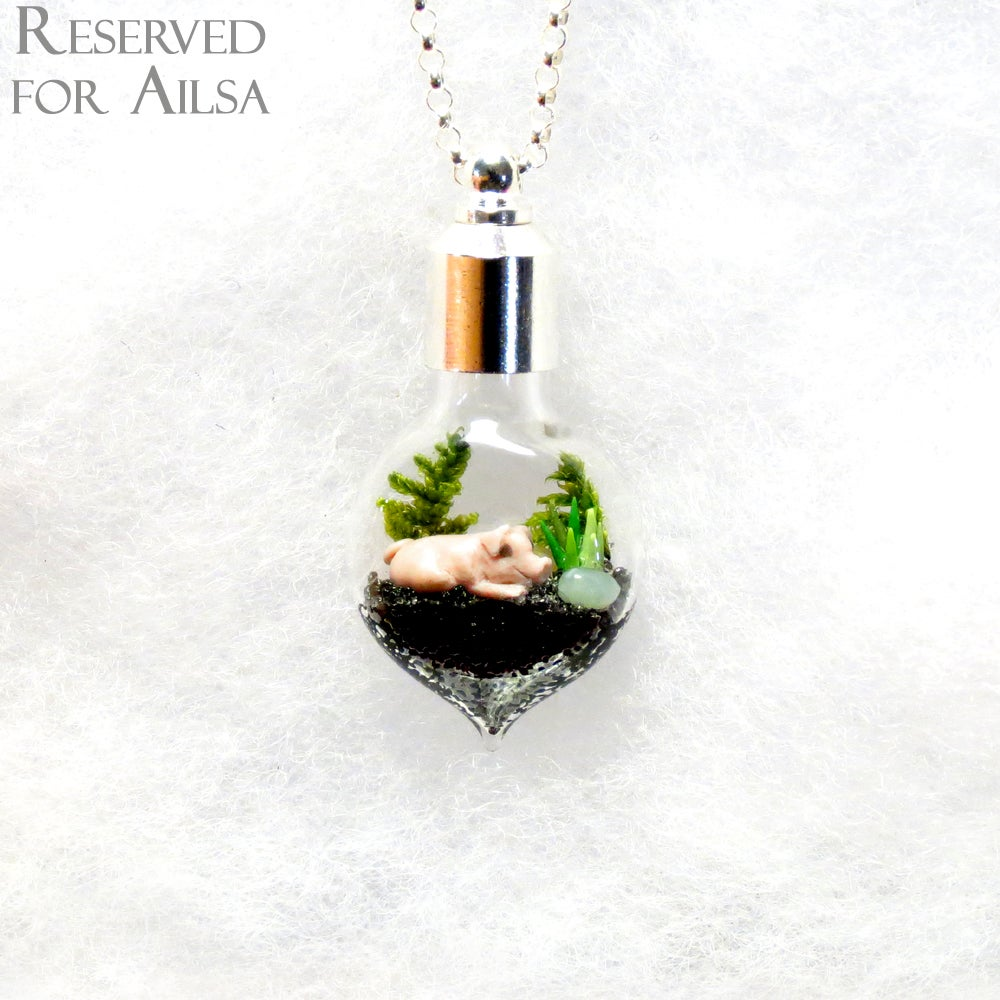 Image of Terrarium Jewelry - Custom Miniature Pig Necklace